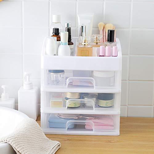TuToy 3 Ebenen-Aufbewahrung Box Pp Tabelle Tidy Organizer Drawers Case Makeup Display Holder - Weiß