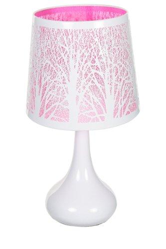 Lampe touch métal blanc motif arbre rose