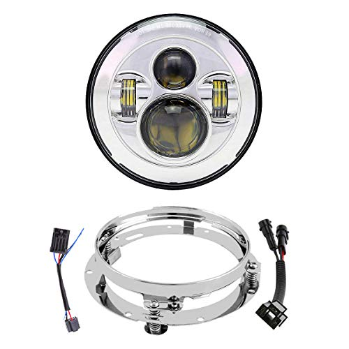 7 Inch LED Headlights with Mounting Bracket DOT Motorcycle Headlamp Kit For Touring Street Glide Road King Electra Glide Ultra Classic Fat Boy Tri Cvo Heritage Softail Slim Delux Ultra Limited Chrome