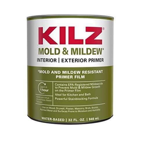 Kilz L204614 Mold And Mildew Interior And Exterior Primer, 1 Quart