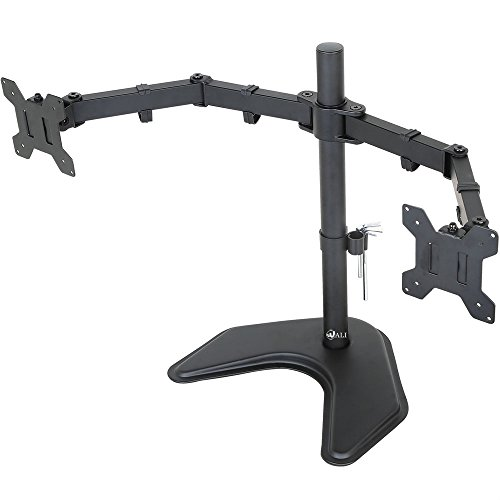 "WALI Free Standing Dual LCD Monitor Fully Adjustable Desk Mount Fits Two Screens up to 27"", 22 lbs. Weight Capacity per Arm (MF002), Black"