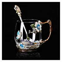 ガラスカップソーサーセットカラーエナメルコーヒーカップティーマグコンロハンドルガラスカップホット&コールドドリンクマグスプーンソーサー (Color : B1)