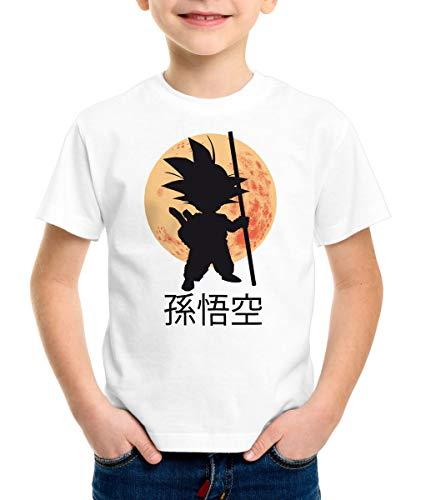 style3 Goku Moonlight T-Shirt pour Enfants, Couleur:Blanc, Taille:116