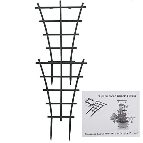 20 unidades de enrejado de plástico para plantas de jardín y escaladas, mini superpuestas, soporte para plantas de escalada en maceta