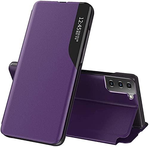 Babeel Capa para Huawei Mate 20 Lite, design fino, visualização transparente, luxuosa, lateral inteligente, capa de couro com fecho magnético, suporte compatível com Huawei Mate 20 Lite. Roxo