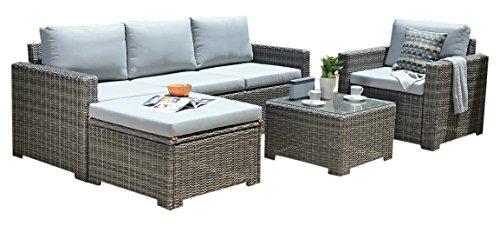 Backyard Furniture Windsor Marbella Luxury Rattan Garden Set Cushions, Dark Grey, 217x82x76 cm