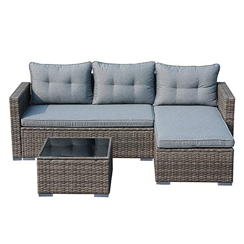 JOIVI Outdoor Patio Furniture Set, Small Sectional Conversation Set, All-Weather Wicker Rattan Furniture Sofa Set, Outdoor Patio Seating with Cushions, Tempered Glass Coffee Table, Silver-Gray