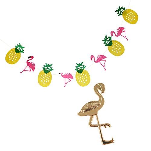 joyMerit Hawaiian Tropical Pineapple Flamingo Garland+Metal Flamingo Bottle Opener