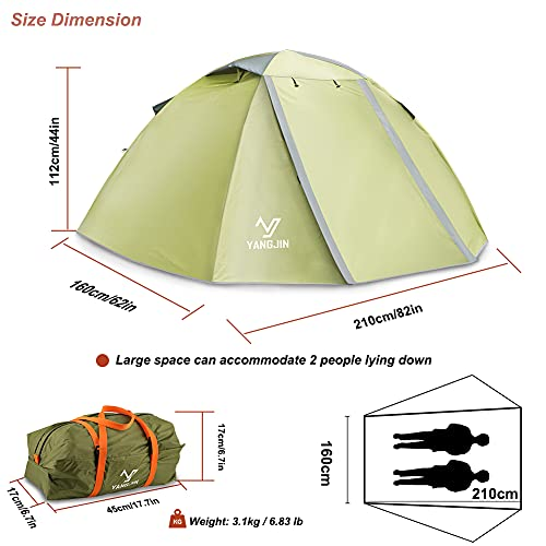 2-3 Person-Lightweight-Backpacking-Camping-Tent,YangJin 4 Season Ultralight Double Layers Waterproof Camping Tent,Easy Setup Tent for Outdoor Camping,Backpacking,Hunting,Hiking, Mountaineering,Travel