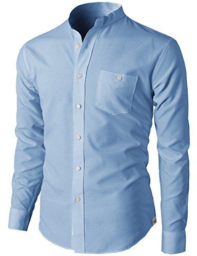 H2H Mens Casual Slim Fit Oxford Mandarin Collar Button-down Long Sleeve Shirt SKY US L/Asia 2XL (KMTSTL0501)