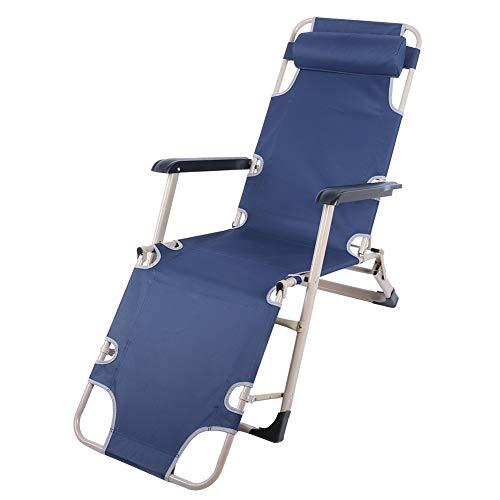 GOTOTOP Sillón de Playa Reclinable 2 Posiciones Ajustable, Carga 100kg, Silla Plegable con Reposacabezas para Jardin Playa o Piscina(Azul)