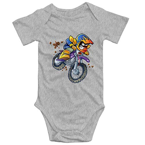 SOSOCUTE Gray Unisex Baby Jersey Bodysuit Motocross Motorcycle Funny Crawling Suit 0-3M