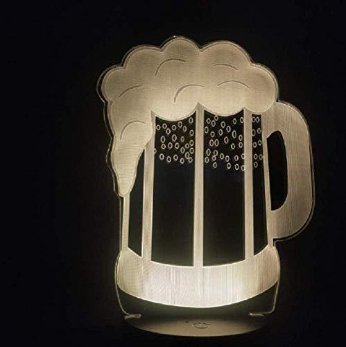 3D Illusie lamp Nacht Licht Creatieve Bier Mok Licht 20 Veranderen voor bar Home Store Decoratieve Nachtlamp voor Kerstmis Gift Smartphone USB 7 Kleuren (Afstandsbediening)