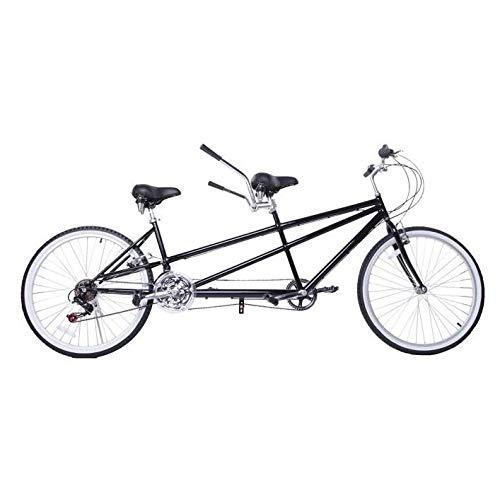 City Tandem Fahrrad Doppeltes Paar Reiten Tandemfahrrad Sport Tragbar Travel Bicycle Kohlenstoffstahl Eltern-Kind-Reiten,Schwarz
