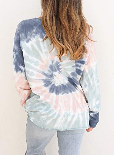 GOSOPIN Womens Crewneck Long Sleeve T Shirt Tie Dye Print Sweatshirt Pullover Tops Loose Fitting Blouses Ladies Multicolor UK 6 8
