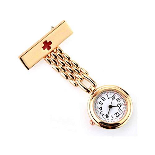 XNdlrb Krankenschwester-Taschen-Uhr-Krankenschwester-Revers-Nadel-Quarz-Bewegung Batteriebetriebene Uhr Clip Art Medical-Taschen-Uhr (Color : Gold, Size : 7 * 2.7 * 0.9cm)