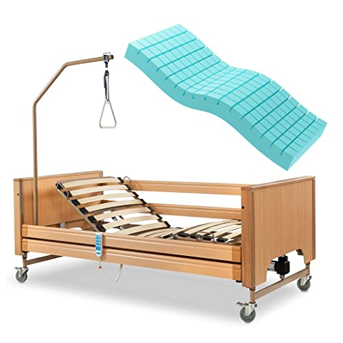 Letto elettrico degenza ortopedico, in legno 3 movimenti, ad altezza variabile e rete pieghevole, sponde regolabili in altezza e asta solleva malato inclusa, certificato