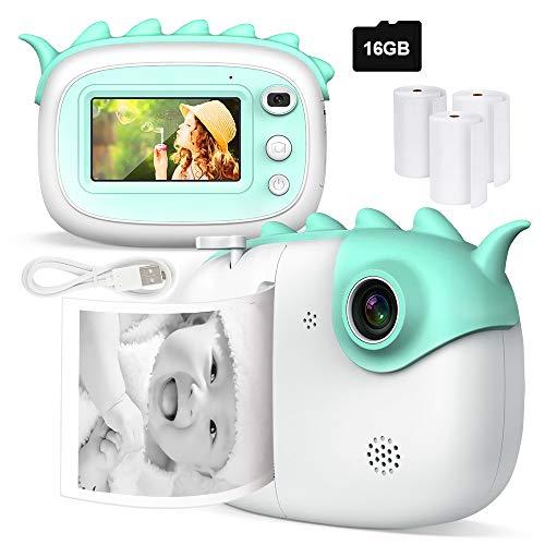 Kinderkamera, 28MP Print Kamera für Kinder, 1080P HD Videokamera mit 3,0 Zoll IPS Touchscreen, Schwarzweiß-Fotokamera mit 16 GB SD-Karte und 3 Rollen Druckpapier, Geschenk für Kinder