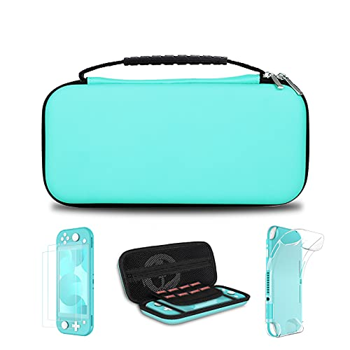 Simpeak 5 en 1 Kits Compatible con Switch Lite, Protector Pantalla Compatible con Switch Lite, Funda Transparente TPU Silicona, Accesorio de Limpieza