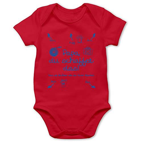 Shirtracer Strampler Motive - Papa du schaffst das Feuerwehr Junge - 1/3 Monate - Rot - Baby Body Papa - BZ10 - Baby Body Kurzarm für Jungen und Mädchen