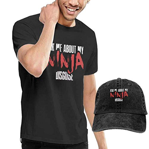 Henrnt Camiseta para Hombre, Ask Me About My Ninja Disguise T-Shirt Short Sleeve Denim Hats