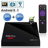 Sidiwen Android 8.1 TV Box A5X Plus Mini Smart Media Player 2GB RAM 16GB ROM Rockchip RK3328 Soporte Quad Core 3D 4K Ultra HD H.265 HEVC WiFi 2.4G Ethernet 100M LAN USB 3.0 Internet Set-Top Box