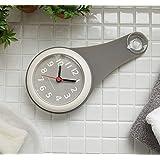 グレー バスルーム時計 防水クロック 掛け時計 ウォールクロック 吸盤付き 防水 静音 浴室 キッチン お風呂 家庭用 おしゃれ かわいい シンプル インテリア 北欧 デザイン シャワー