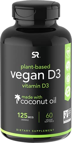 Vegan Vitamin D3 5000iu (125mcg) with Coconut Oil | 100% Plant-Based Supplement for Bone, Joint & Immune Support | Carrageenan Free, Vegan Certified & Non-GMO Verified (60 PlantGels)