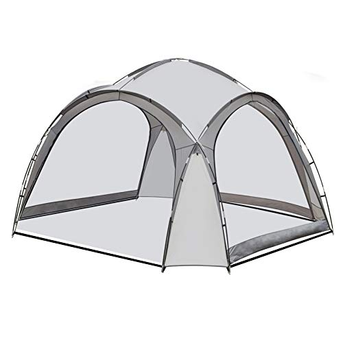 SANHENG LED Pavillon, solar LED Partyzelt Gartenpavillon Pool Überdachung Camping rund (Grau)