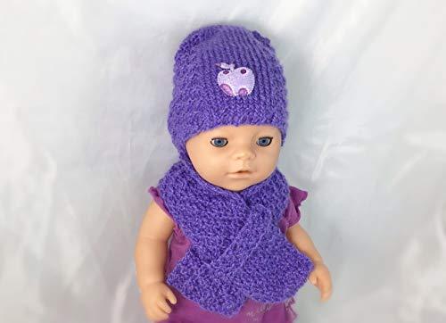 Puppen Kleidung Set: Mütze und Schal für eine Puppe ca. 40-43 cm, gestrickt, gehäkelt, Handarbeit, Handmade, NEU