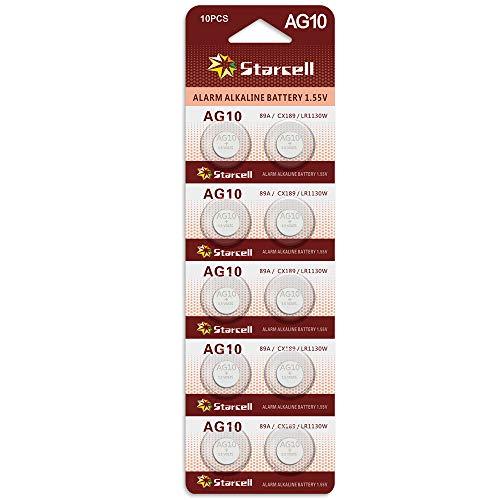 Starcell Pack of 10 LR1130 1.55 V Alkaline Button Cell AG10 Batteries DLR1130, SR1130, L1131, LR1130, LR54, 389, 189-1, 389A, 390A, D189, 189, G10, G10A, GP89A, KA54, RW89, V10GA