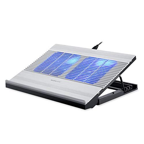 LWXXXA Soporte para computadora portátil, Soporte de enfriamiento para computadora portátil de aleación de Aluminio, Ventilador Turbo Twin, Altura Ajustable, Compatible con 10-17'