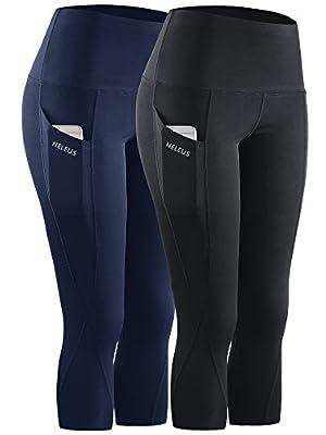 Neleus 2 Pack Tummy Control High Waist Workout Yoga Capri Leggings Yoga Pants,9027,Black,Navy Blue,US 2XL,EU 3XL
