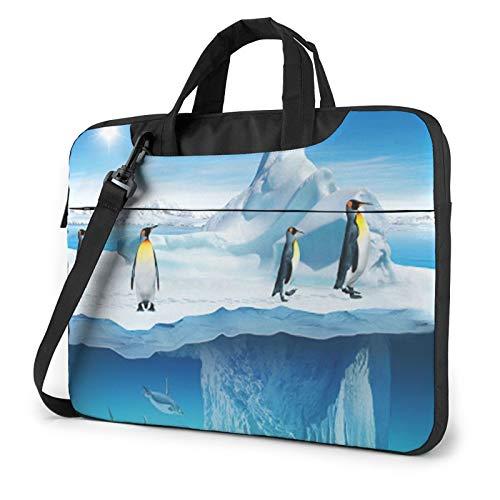 Laptop Shoulder Bag - Penguins On The Iceberg Printed Shockproof Waterproof Laptop Shoulder Backpack Bag Briefcase 14 Inch