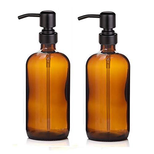 Kaiking 16 Unzen Braunglas Boston Rundflaschen Dispenser-Flüssig Pint-Glas Seifenspender mit Matte Black Edelstahl Rostende Pumpe für Ätherische Öle, Lotionen Waschmittel (2)