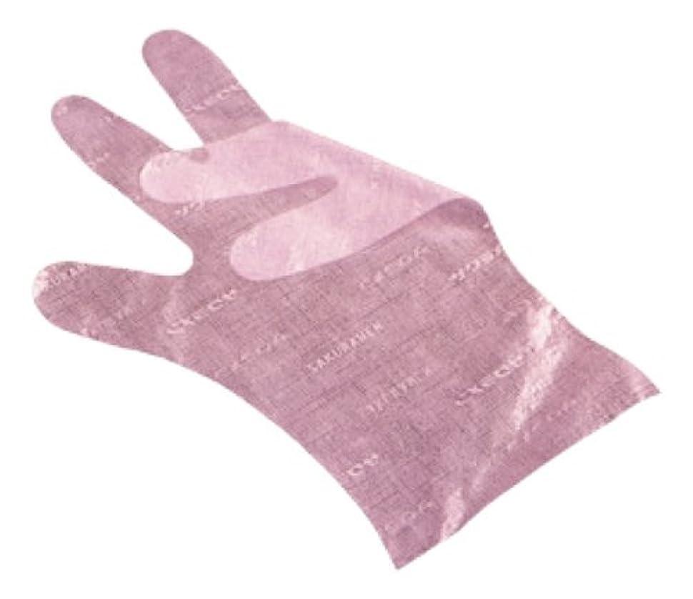 比類なき期間軽くサクラメン手袋 デラックス(100枚入)L ピンク 35μ