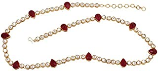 Peora Traditional Jewellery 18K Gold Plated Kundan Waist Belt Kamarband Kamarpatta Belly Chain for Women Girls