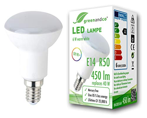 Bombilla LED greenandco® IRC 90+ E14 R50 6W (corresponde a 40W) opaca 450lm 3000K (blanco cálido) 160° 230V AC, sin parpadeo, no regulable