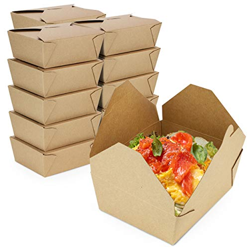 [50 Pack] 45 oz 6 x 5.75 x 2.5 Disposable Paper Take Out Food Containers, Microwaveble Folding Natural Kraft to Go Boxes #8