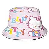 Bucket Hat Pink Hello Kitty Bucket Sun Hat para Hombres Mujeres -Protección Gorra de Pescador de Verano Empacable para Pesca, Safari, navegación en la Playa