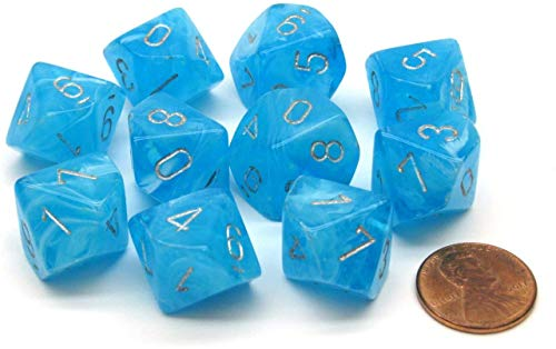 Chessex Luminary D10 Glow in The Dark Dice Set Sky with Silver