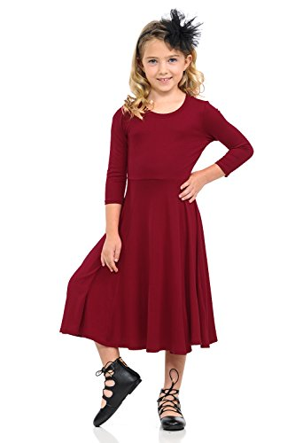 Pastel by Vivienne Honey Vanilla Girls' Princess Seam A-Line Dress with Full Skirt Large 9-10 Years Burgundy