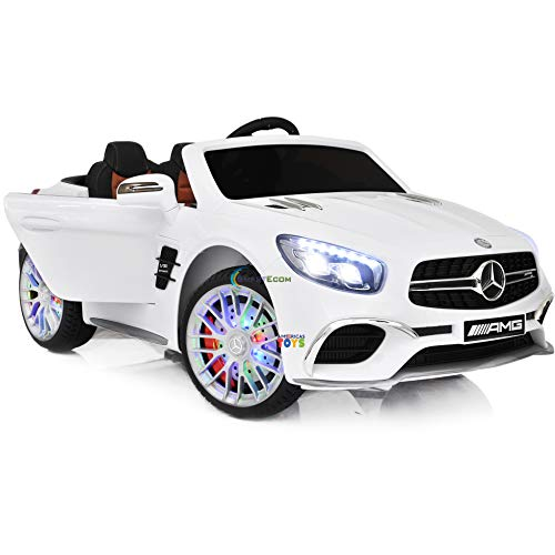 Mercedes Americas Toys Ride On Car - Electric 12V Battery Powered Kids Car with Remote Control, LED Wheels, Open Doors and Trunk, MP4 Touch Screen for Music Movies Cartoons Compatible Benz White