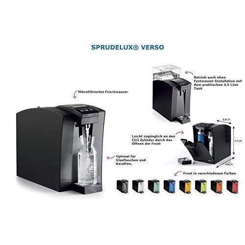 SPRUDELUX® Auftisch-Tafelwasseranlage Verso mit und ohne Festwasseranschluss + Aktivkohle mit Silberionen Wasserfilter und CO2 Einwegflasche. Profi-Wassersprudler für Privathaushalt Sprudelwasser