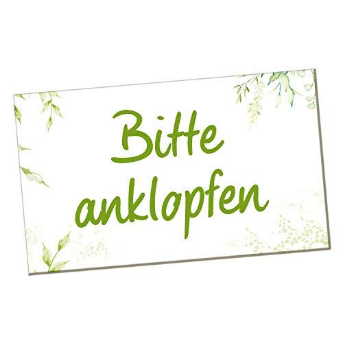 Logbuch-Verlag Bitte anklopfen Türschild - Hinweisschild Warnschild grün weiß 20 x 12 cm - Anklopfen-Schild selbstklebend