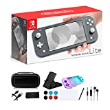 Newest Nintendo Switch Lite - 5.5' Touchscreen Display, Built-in Plus Control Pad, iPuzzle 9-in-1 Carrying Case, Built-in Speakers, 3.5mm Audio Jack, 802.11ac WiFi, Bluetooth 4.1, 0.61 lb - Gray