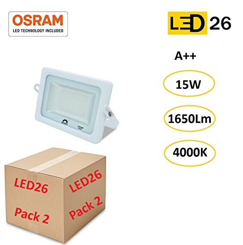 LED26® Exterior Floodlight Led PACK DE 2 Focos 15w chip LED OSRAM Proyector Led para Exterior Iluminación Decoración 4000k IP65 Blanco [Clase de eficiencia energética A++]