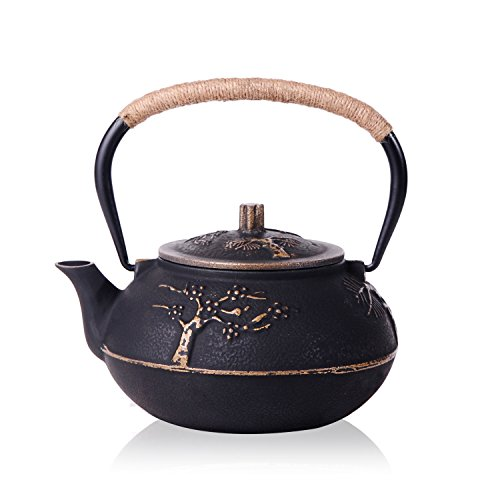 JUEQI 900 ML Old Dutch Cast Iron Teapot, Enamel Craft Tetsubin Japanese Cast Iron Tea Kettle with Stainless Steel Infuser Strainer, Enamel-Coated Interior Plum Bamboo Pattern