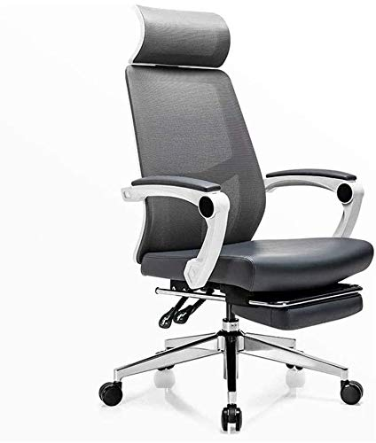 BRFDC Noble Chair Y-Back Aufgaben-Stuhl, mit Fußrasten-Computer ergonomischen Stuhl Y-Shaped Kissen High-Density Breathable Ineinander greifen Kissen Swivel Büro Essentials-Stuhl (Color : Gray)