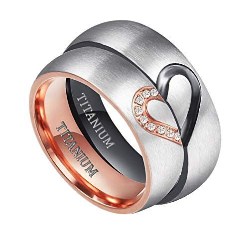 TIGRADE 6mm Titanium Wedding Bands Real Love Heart CZ Inlaid Couple Engagement Rings,Women's, Size 8